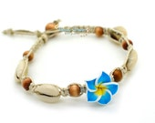 Cowrie Shell Anklet, Beach Anklet, Wood Beads, Flower Anklet, Hemp  Anklets