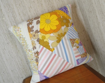 Crazy Patchwork Cushion in retro vintage fabrics. *PASTELS* upcycled, repurposed pillow