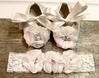 White Baby Crib Shoes for Christenings, Baptisms, Weddings and other special occasions..COMES IN White, Ivory & Cream.