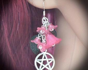 Summer Flowers Pentacle Earrings - Pink - Pagan Jewellery, Wicca, Solstice
