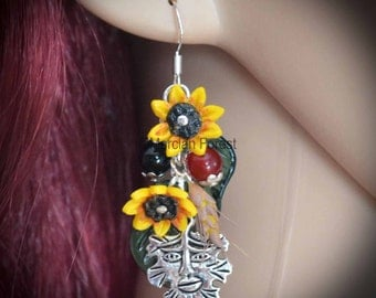 Lughnasadh Blessings Sunflower and Wheat Earrings - Pagan Jewellery, Wicca, 925
