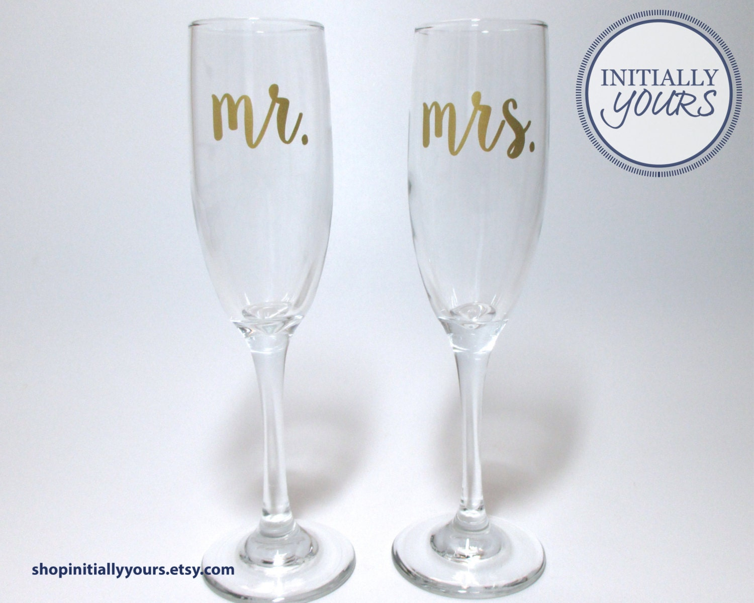 mr and mrs champagne flutes wedding toasting glasses