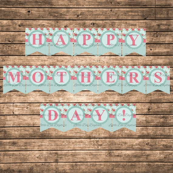 printable happy mother 39 s day floral banner bunting pennant. Black Bedroom Furniture Sets. Home Design Ideas