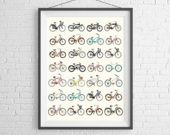 Bicycle Poster - Vintage Bicycles - Road Bikes & Cruisers - Bike Poster - Bike Art - Bicycle Print - Schwinn - Wall Art