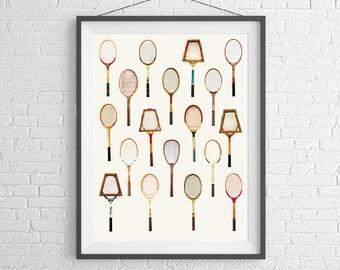 Vintage Tennis Racquet  Poster -  Art Wall Print - Wimbledon, French US Australia Open - Tennis Sports