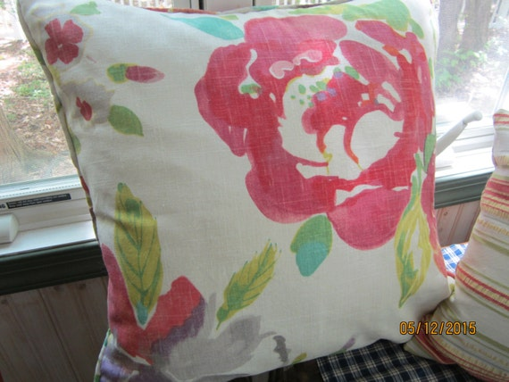 Watercolor floral fabric corded throw pillow white pink red purple green