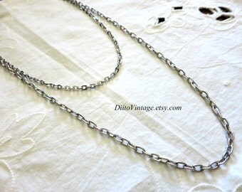 Vintage Sarah Coventry Two Strand Necklace, Silver tone, Chain Necklace, Multi Strand Necklace, Patterned Chain, Cable Chain