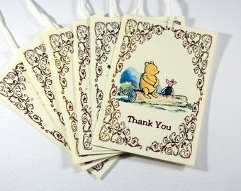 Winnie the Pooh Tags, Baby Shower, Birthday Party, Thanks You, Set of 6 or 12