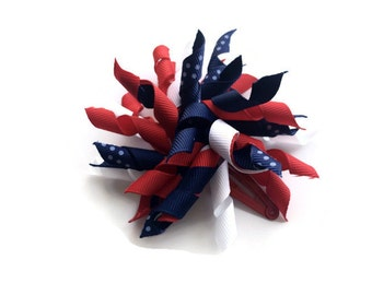 Navy and Red Korker Hair Bow - 4th of July Hair Bow - Red White and Blue Toddler Hair Bow Barrette - Red Snap Clip Barrette for 4th of July