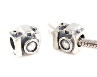 Solid Authentic sterling silver camera charm bead - european bracelet charm