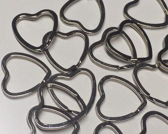 8 Pcs Key Rings Heart Shape Silver Color 30mmx28mm