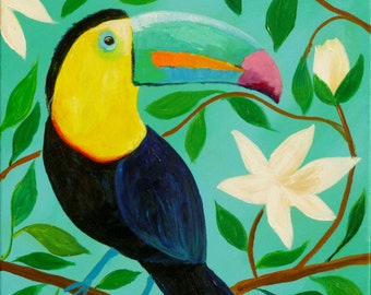 Toucan in a Flowering Tree, toucan bird painting, tropical bird, bird art, original art, wall art painting, bright colorful painting