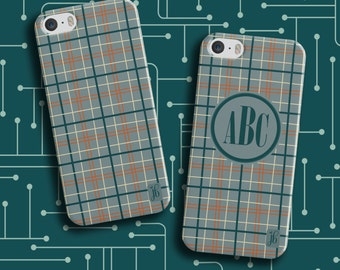 Teal Plaid Phone Case | Available Monogrammed | Personalized Smartphone Case | Custom iPod Case