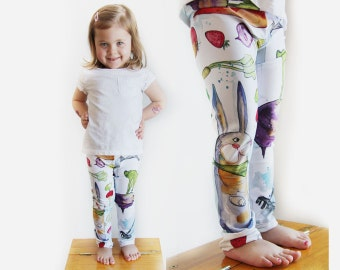 Baby leggings, vedggies garden, bunny, carrots, strawberries, originals illustrations by Kim Durocher, printed on polyester spandex fabric.