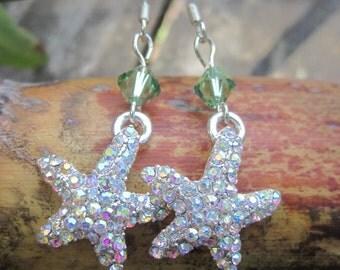 Seafoam Green Rhinestone Starfish Dangle Earrings