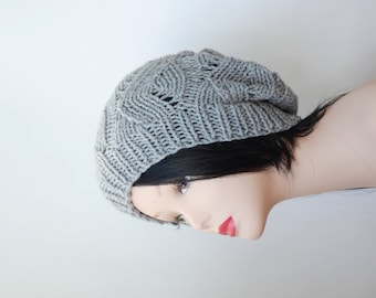 Gray Slouchy Knit Hat Slouch Beanie womens neutral Casual hat best friend gift ideas