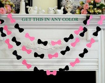 Bow Tie Garland, Baby/bridal shower decor, Paper Garland, photo Prop Birthday Decor, Pink Black Bow Ties, Pink Bow Tie, Valentine's garland