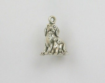 Sterling Silver 3-D Dog with Puppy Charm