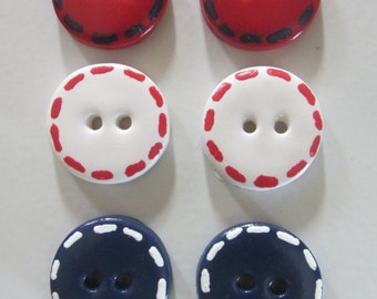 Stitched (Patriotic) Buttons ~ Set of 6