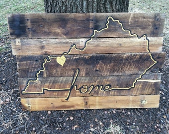 State home pallet sign with heart over city