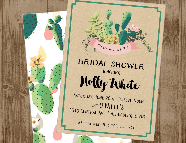 Wedding Shower Invitation: Printable Wedding Bridal Shower Invite Invitation Succulents
