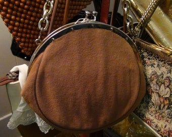 Retro Fabulous Round Camel Color Handbag with Goldtone clasp and chain handle