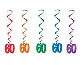 Set of 5 ~ 60th Birthday Whirls party supplies decorations and favors ceiling decorations sixty reunions anniversary