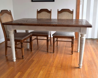 Rustic Pine Dining Table | Shabby Chic Weathered Farm Table