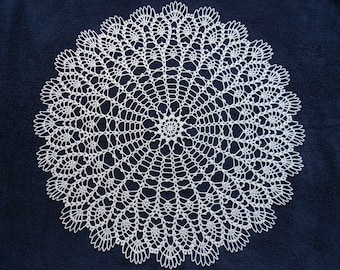 Handmade Crochet Cotton Doily With Pineapple Shape Details 23,5''