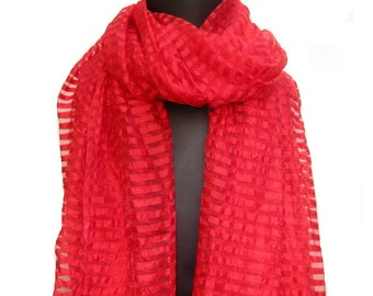 Red scarf,tassel scarf, long scarf, striped scarf in chiffon.Free shipping.