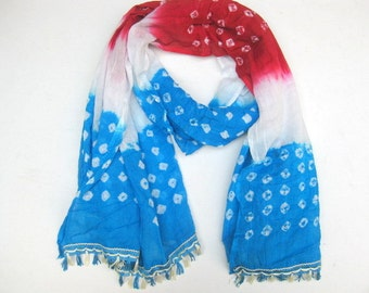 Multicolored scarf/ tie and dye scarf/ cotton scarf / lace scarf/ tassel scarf / scarf/   gift ideas.