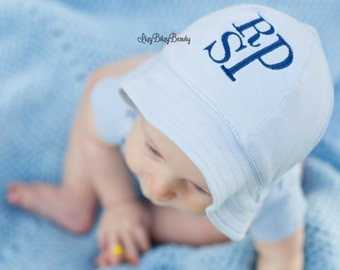Light blue sun hat baby boy personalized monogram
