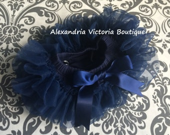 NAVY BLUE TUTU Bloomer, chiffon ruffle diaper cover, newborn ruffle all around bloomer, several colors to chose from-ready to ship!