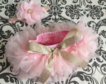 SOFT PINK  and GOLD tutu bloomer set,  baby headband and chiffon ruffle diaper cover, gold and light pink set.