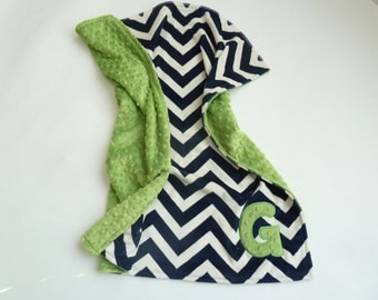 Personalized Double Sided Minky Baby Boy or Girl Blanket or Lovey - Custom Made - Navy Chevron front you Choose back Minky Color - green