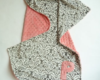 Personalized Baby Girl Blanket or Lovey  - Custom Made - Charcoal Gray Damask, front you Choose back Minky Color -  Gray, coral