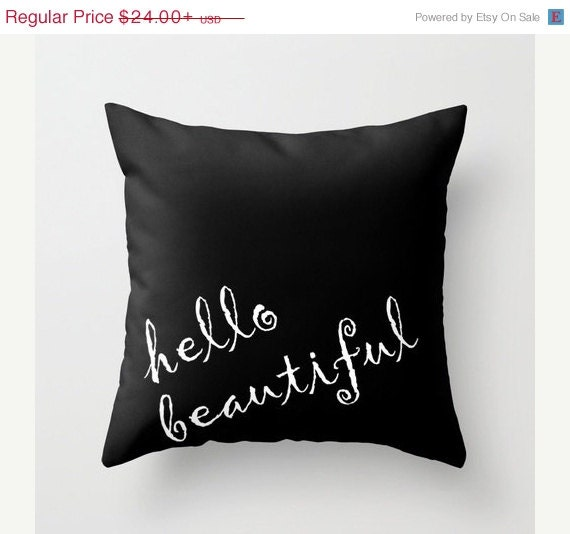 Hello Beautiful Decorative Pillow : ON SALE Hello Beautiful Throw Pillow Coral Teal Coral Red Blue Beach Decor Modern Home Decor ...