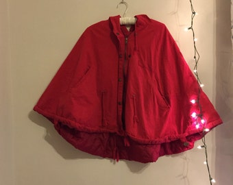 Red Fabric Poncho Coat