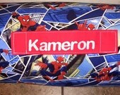"""Personalized Preschool / Kinder Nap Mat in Spider-Man with Pillow, Minky Blanket and 1""""memory foam"""