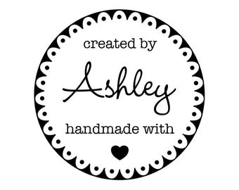 "CUSTOM HANDMADE with LOVE rubber stamp - personalized stamp, stationary stamp, envelope stamp, card stamp, tag stamp, 1.8""x1.8"" (CHM6)"