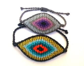 Large Evil Eye Macrame Bracelet,Micromacrame Jewerly
