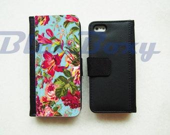 Hibiscus Flower Wallet Case - iPhone 7, iPhone 6 Case, iPhone 6s, iPhone 6 Plus, 6s Plus, iPhone 5, iPhone 5s, iPhone 4/4s, Flip Case
