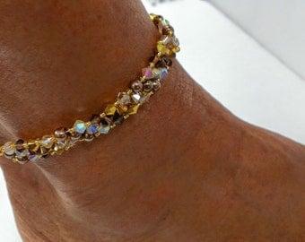 Brown & gold Swarovski crystal , pearls ankle bracelet !