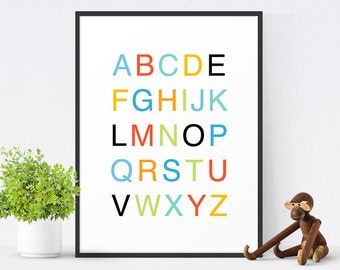 Printable Alphabet Art, Printable Nursery Art, Alphabet Poster, Nursery Decor, Kids Wall Art, Instant Download