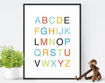 Printable Alphabet Art, Printable Nursery Art, Alphabet Poster, Nursery Decor, Kids Wall Art, Instant Download