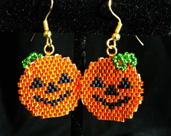Halloween Jack-O-Lantern Beaded Dangle Earrings, Brick Stitch, Delica Beads
