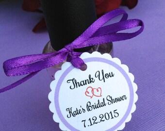 SET OF 30, mini tags, polish tags, bridal shower tags, thank you tags, favor tags