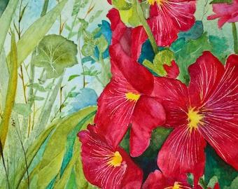 Painting watercolor painting original floral watercolor painting hollyhock painting large floral watercolor original fine art flower art