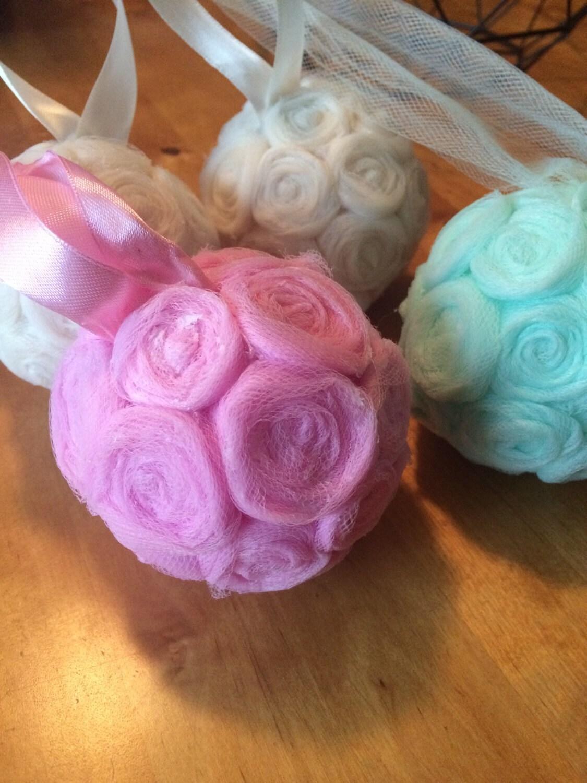 Tulle Rosette Kissing Balls Flower Girl Bouquet Country Wedding
