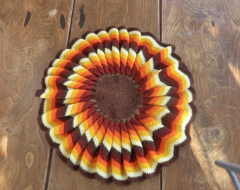Woolen TABLE MAT in the HOOK, craft(home-made), vintage 1970, colors orange, brown, and yellow